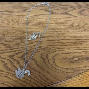 NWOT Silver Bird Necklace with Matching Earrings